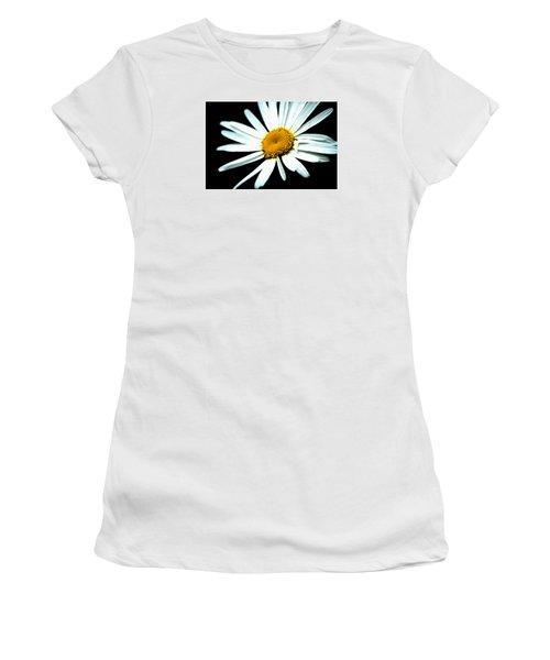 Women's T-Shirt (Junior Cut) featuring the photograph Daisy Flower - White Sun by Alexander Senin