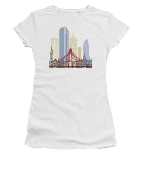 Dallas Skyline Poster Women's T-Shirt (Junior Cut) by Pablo Romero