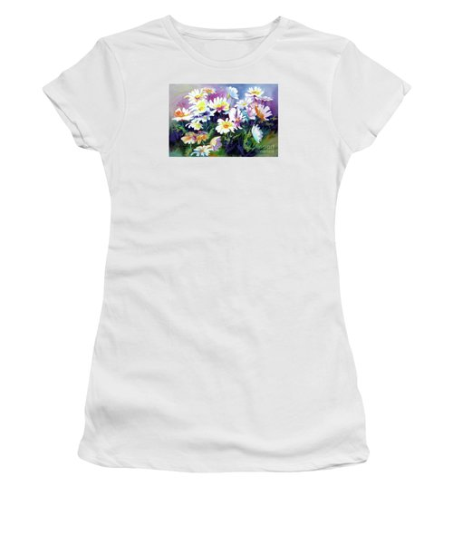 Women's T-Shirt (Junior Cut) featuring the painting Dancing Daisies by Kathy Braud