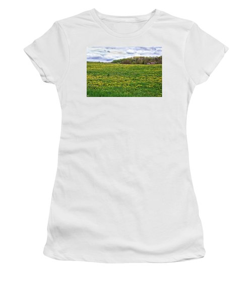 Dandelion Field With Barn Women's T-Shirt