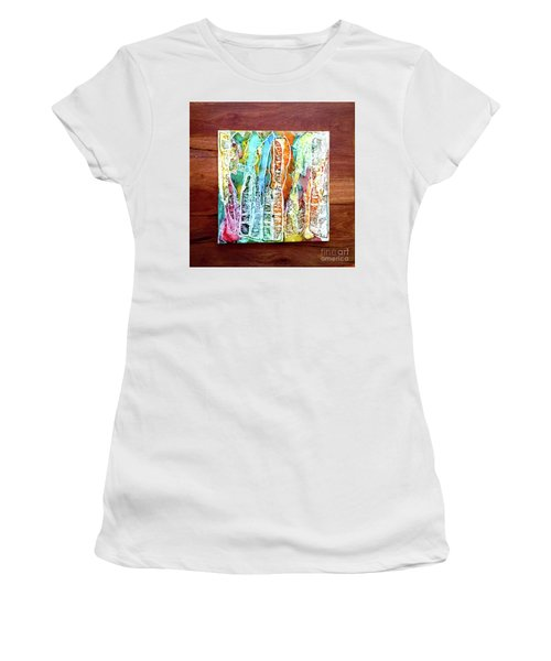 Danxia Water Falls Women's T-Shirt (Junior Cut) by Alene Sirott-Cope