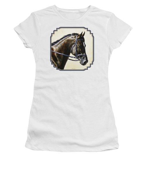 Dark Bay Dressage Horse Phone Case Women's T-Shirt (Athletic Fit)