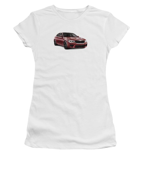 Dark Red 2018 Bmw M5 Performance Car Sport Sedan Art Photo Print Women's T-Shirt (Athletic Fit)