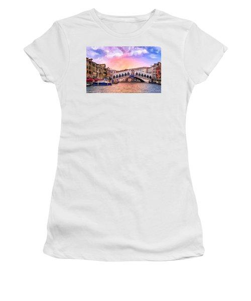 Dawn Light At Rialto Bridge Women's T-Shirt