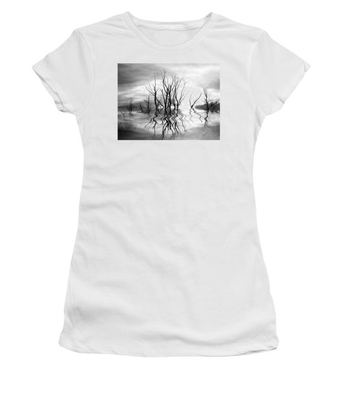 Women's T-Shirt (Junior Cut) featuring the photograph Dead Trees Bw by Susan Kinney