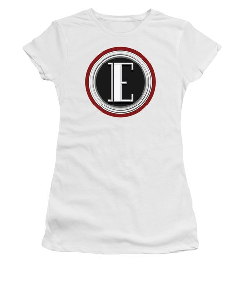 Deco Cafe Marquee  Monogram  Letter E Women's T-Shirt