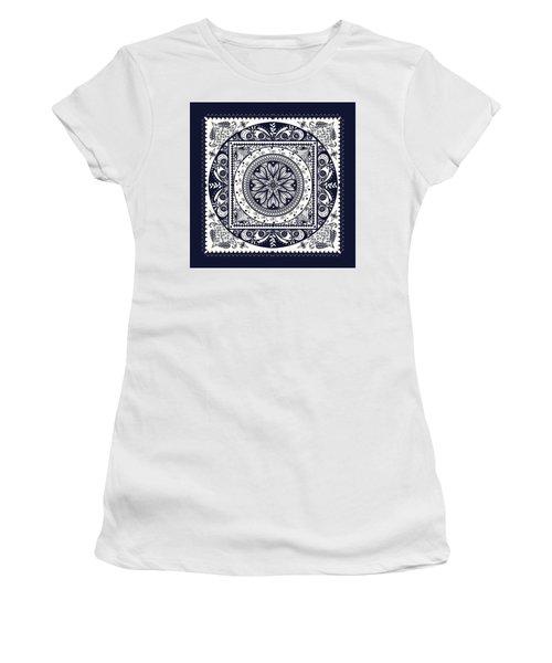Deep Blue Classic Mandala Women's T-Shirt (Junior Cut) by Deborah Smith