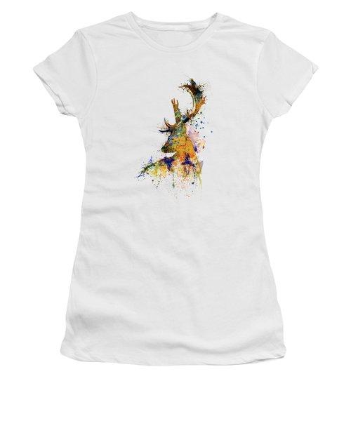 Deer Head Watercolor Silhouette Women's T-Shirt (Athletic Fit)