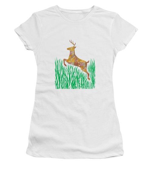 Deer In Grass Women's T-Shirt (Junior Cut) by Aimee L Maher Photography and Art Visit ALMGallerydotcom