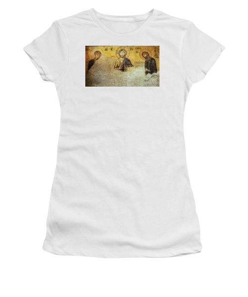 Deesis Mosaic Hagia Sophia-christ Pantocrator-judgement Day Women's T-Shirt