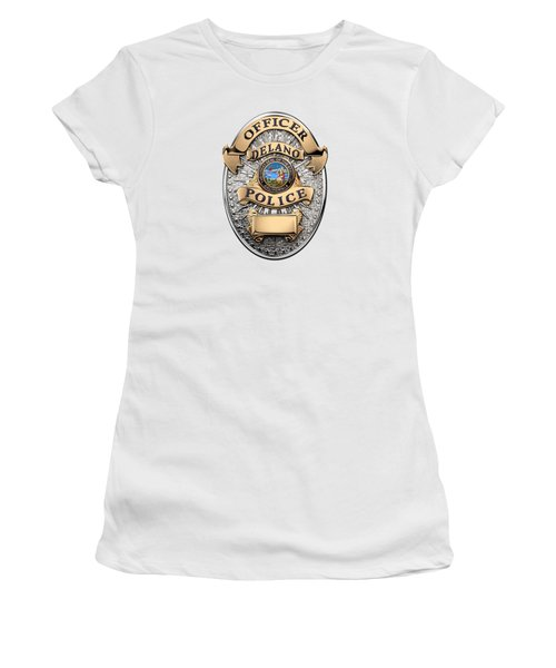 Women's T-Shirt (Junior Cut) featuring the digital art Delano Police Department - Officer Badge Over White Leather by Serge Averbukh