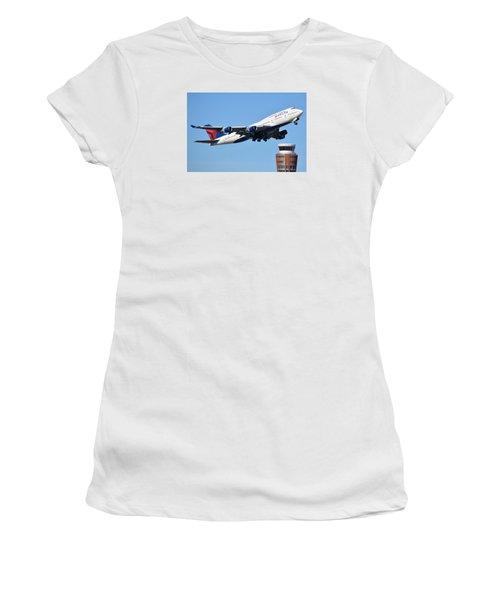 Delta Boeing 747-451 N674us Phoenix Sky Harbor January 12 2015 Women's T-Shirt (Junior Cut) by Brian Lockett