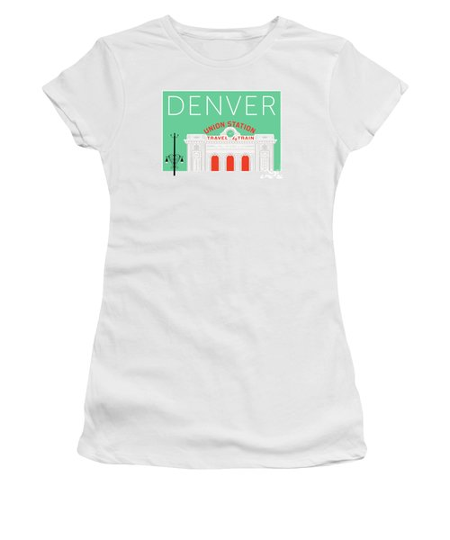 Denver Union Station/aqua Women's T-Shirt (Athletic Fit)