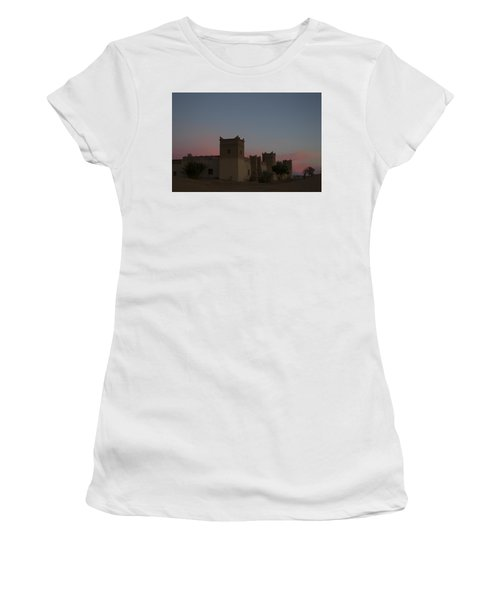 Women's T-Shirt (Junior Cut) featuring the tapestry - textile Desert Kasbah Morocco 2 by Kathy Adams Clark