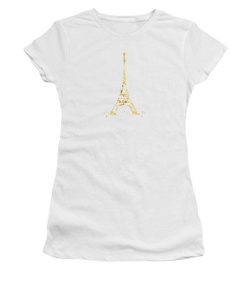 Digital-art Eiffel Tower - White And Golden Women's T-Shirt