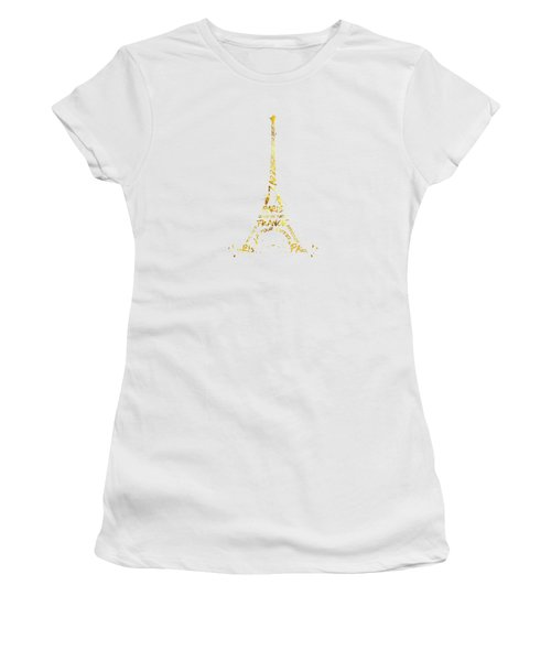 Digital-art Eiffel Tower - White And Golden Women's T-Shirt (Athletic Fit)