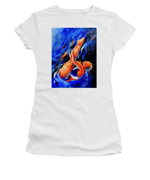 Women's T-Shirt (Athletic Fit) featuring the painting Diving Diva by Hanne Lore Koehler