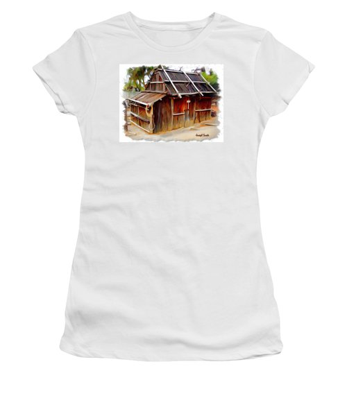 Women's T-Shirt (Junior Cut) featuring the photograph Do-00129 Old Cottage by Digital Oil