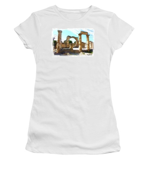 Women's T-Shirt (Athletic Fit) featuring the photograph Do-00408 Colonnades In Tyr by Digital Oil