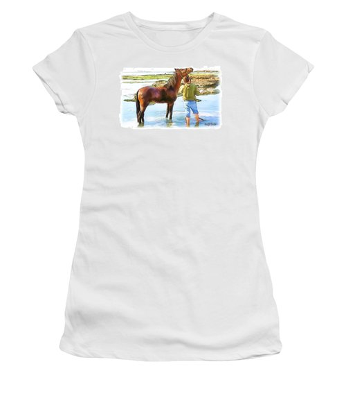 Do-00421 Washing Horse In Mina Women's T-Shirt (Athletic Fit)