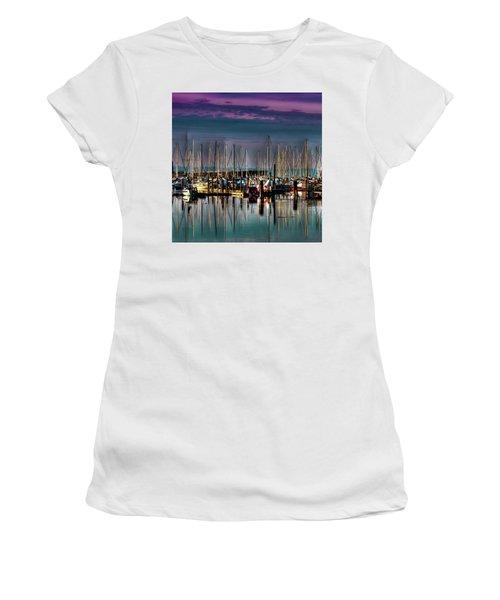 Docked Sailboats Women's T-Shirt (Junior Cut) by David Patterson