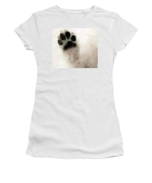 Women's T-Shirt (Athletic Fit) featuring the painting Dog Art - I Paw You by Sharon Cummings