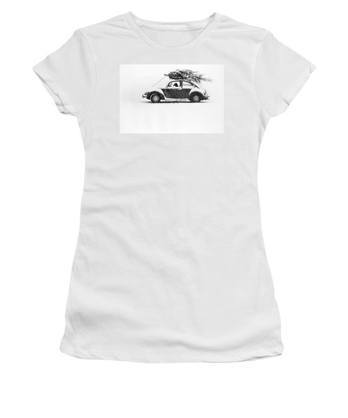 Dog In Car  Women's T-Shirt (Junior Cut) by Ulrike Welsch and Photo Researchers