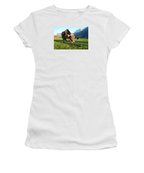 Dolomites Mountain Cow Close-up Women's T-Shirt (Junior Cut) by IPics Photography