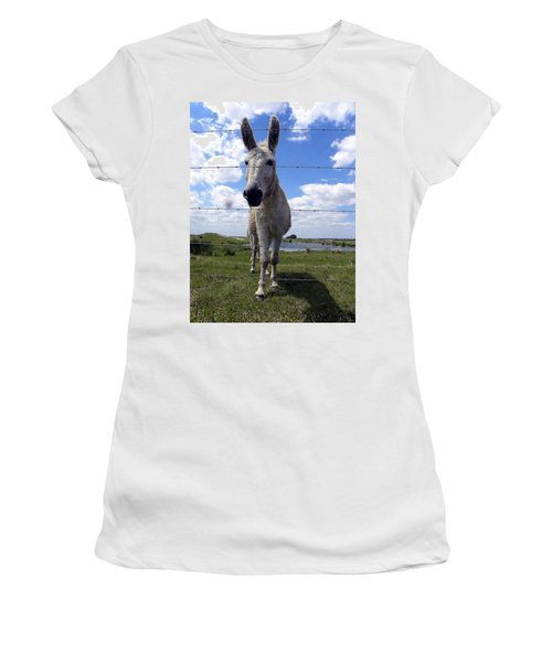 Women's T-Shirt (Junior Cut) featuring the photograph Don't Fence Me In 000  by Chris Mercer