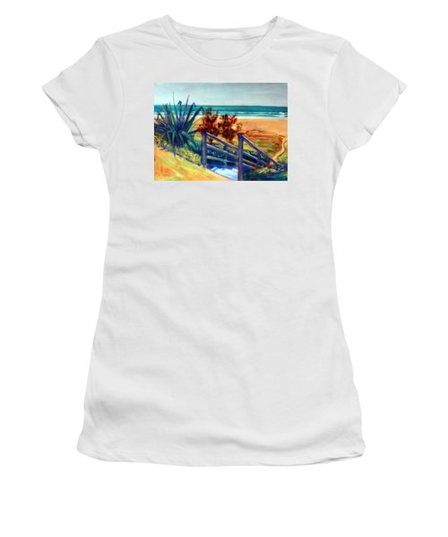 Down The Stairs To The Beach Women's T-Shirt (Junior Cut) by Winsome Gunning