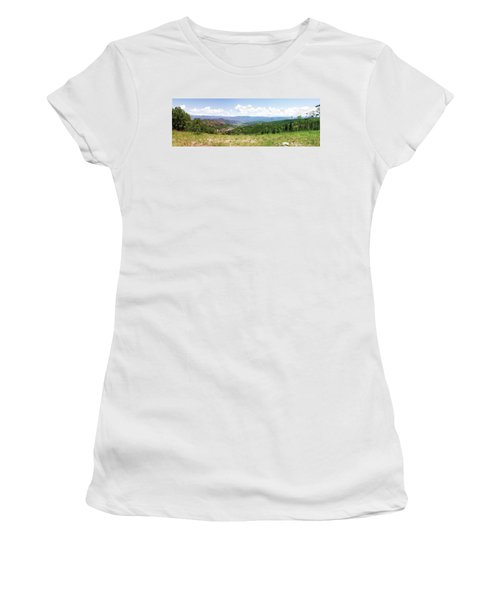 Women's T-Shirt (Junior Cut) featuring the photograph Down The Valley At Snowmass #2 by Jerry Battle