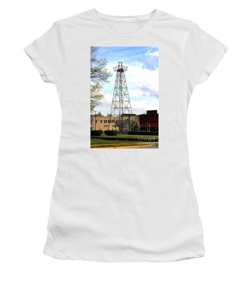 Downtown Gladewater Oil Derrick Women's T-Shirt (Athletic Fit)