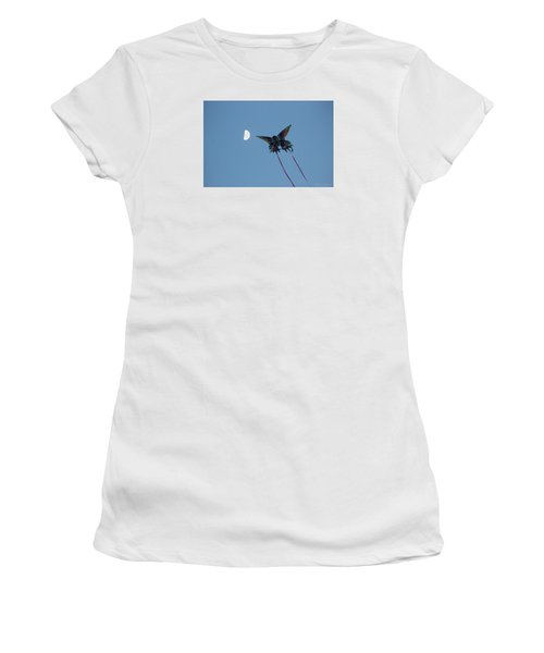 Women's T-Shirt (Junior Cut) featuring the photograph Dragonfly Chasing The Moon by Robert Banach