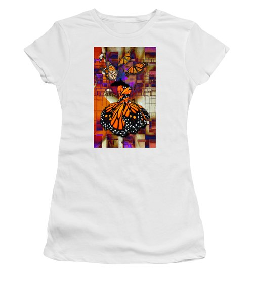 Women's T-Shirt (Athletic Fit) featuring the mixed media Dreaming Of Flying High by Marvin Blaine