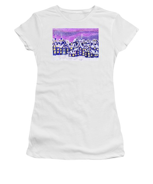 Dreamstown Blue, Painting Women's T-Shirt (Athletic Fit)