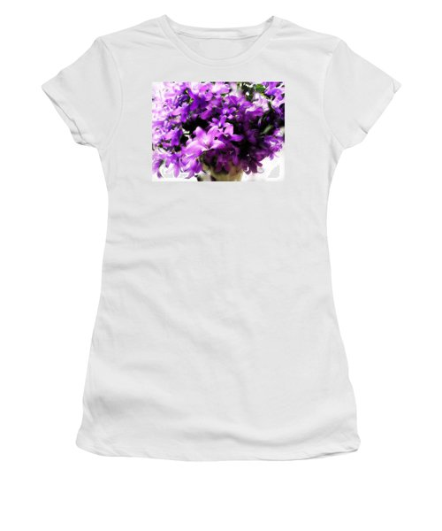 Women's T-Shirt (Junior Cut) featuring the mixed media Dreamy Flowers by Gabriella Weninger - David