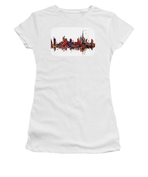 Women's T-Shirt (Athletic Fit) featuring the painting Dubai Colorful Skyline by Dan Sproul