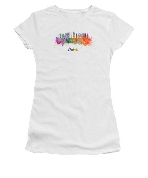 Dubai V2 Skyline In Watercolor Women's T-Shirt