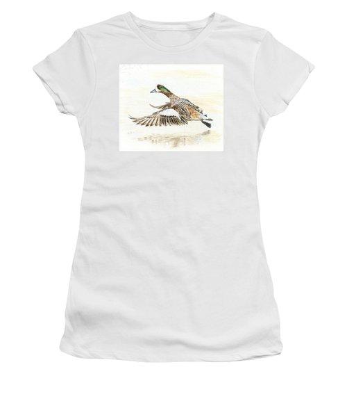 Duck Taking Off. Women's T-Shirt (Junior Cut) by Raffaella Lunelli