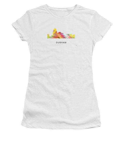 Durham North Carolina Skyline Women's T-Shirt (Junior Cut) by Marlene Watson