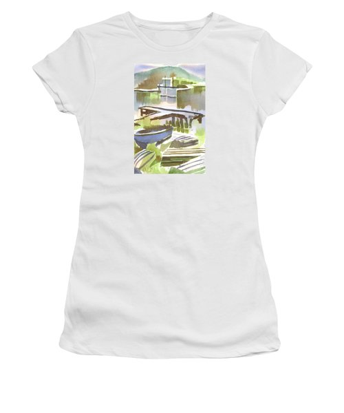 Women's T-Shirt (Junior Cut) featuring the painting Dusk At The Boat Dock by Kip DeVore