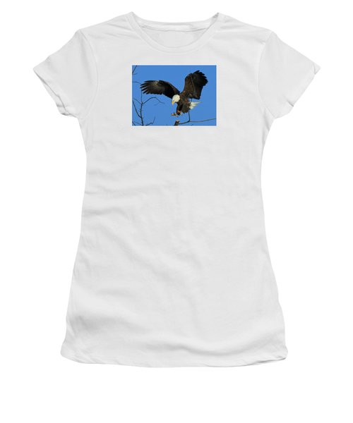 Women's T-Shirt (Junior Cut) featuring the photograph Eagle Landing by Coby Cooper
