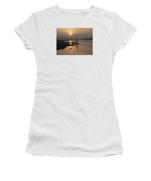Women's T-Shirt (Junior Cut) featuring the photograph Early Hour On The River by Lucinda Walter