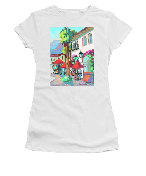 Women's T-Shirt (Junior Cut) featuring the painting Early Morning Coffee In Old Town La Quinta 2 by Diane McClary