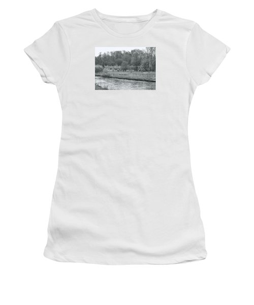 Early Spring In England Black And White Women's T-Shirt (Athletic Fit)