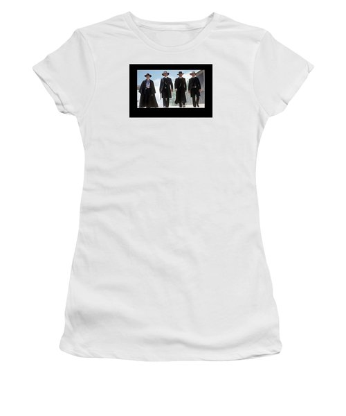 Earp Brothers And Doc Holliday Approaching O.k. Corral Tombstone Movie Mescal Az 1993-2015 Women's T-Shirt