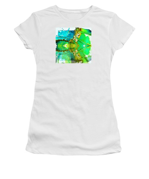 Women's T-Shirt (Junior Cut) featuring the painting Earth Water Sky Abstract by Carolyn Repka