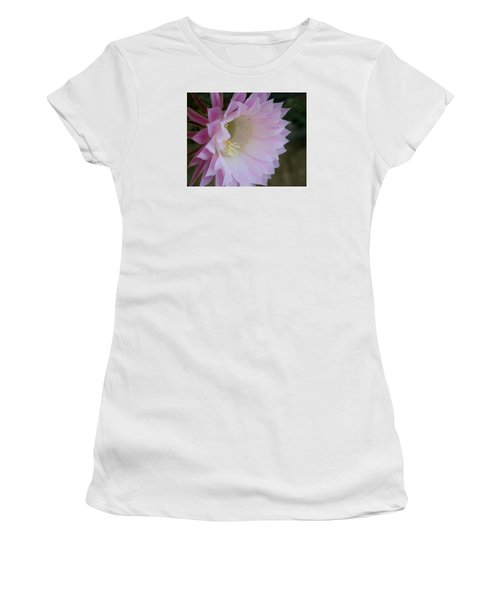 Women's T-Shirt (Junior Cut) featuring the painting Easter Lily Cactus East 2 by Marna Edwards Flavell