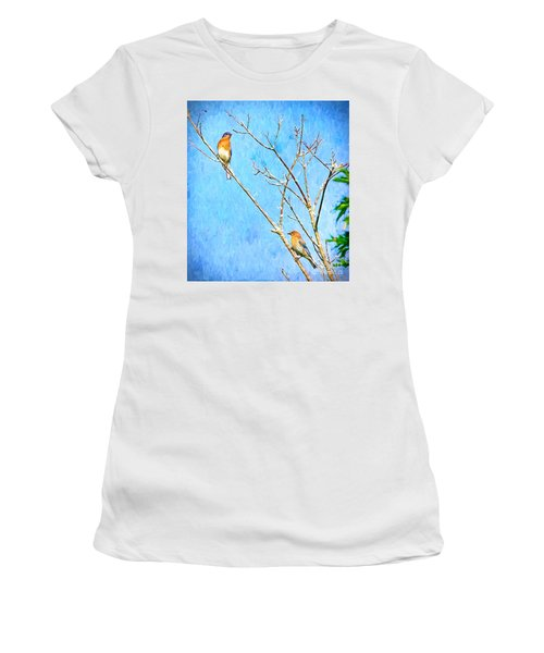 Eastern Bluebird Couple Women's T-Shirt (Athletic Fit)