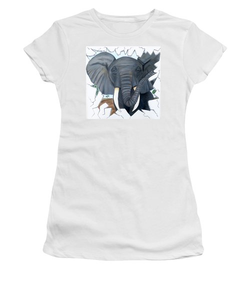 Women's T-Shirt (Junior Cut) featuring the painting Eavesdropping Elephant by Teresa Wing